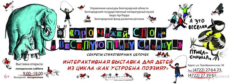 Интерактивная выставка «Про чижей, слона и веселую птицу синицу…»: Афиша выставок в Белгороде