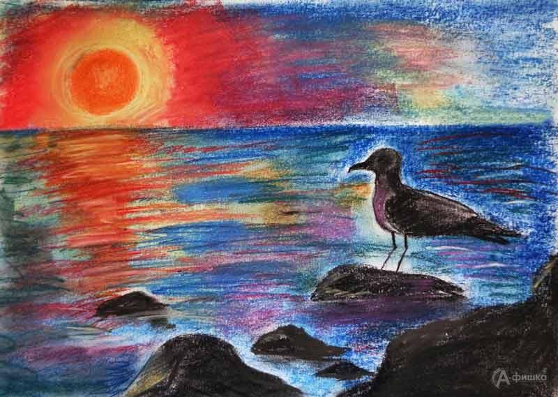 Занятие «Морской пейзаж с чайкой» в изостудии клуба «Шёлковые детки»: Детская афиша Белгорода