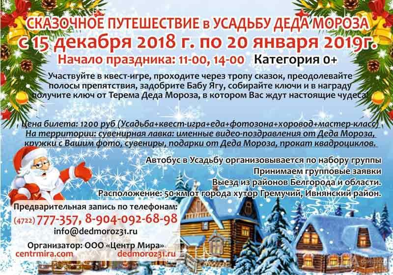 Сказочное путешествие в усадьбу Деда Мороза: Новогодняя афиша Белгорода