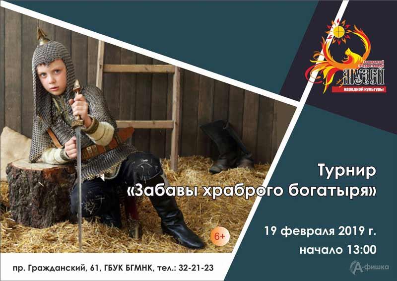 Турнир «Забавы храброго богатыря» ко Дню защитника Отечества: Детская афиша Белгорода