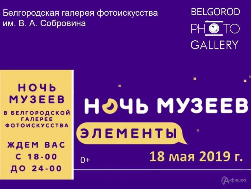 Акция «Ночь музеев 2019» натему «Элементы» вБелгородской фотогалерее им.Собровина