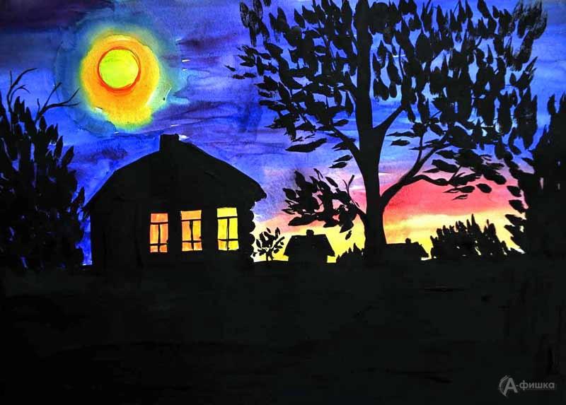 Занятие «Ночь» в изостудии клуба «Шёлковые детки»: Детская афиша Белгорода