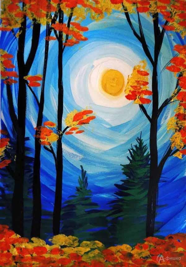 Занятие «Осенний пейзаж» визостудии клуба «Шёлковые детки»: Детская афиша Белгорода
