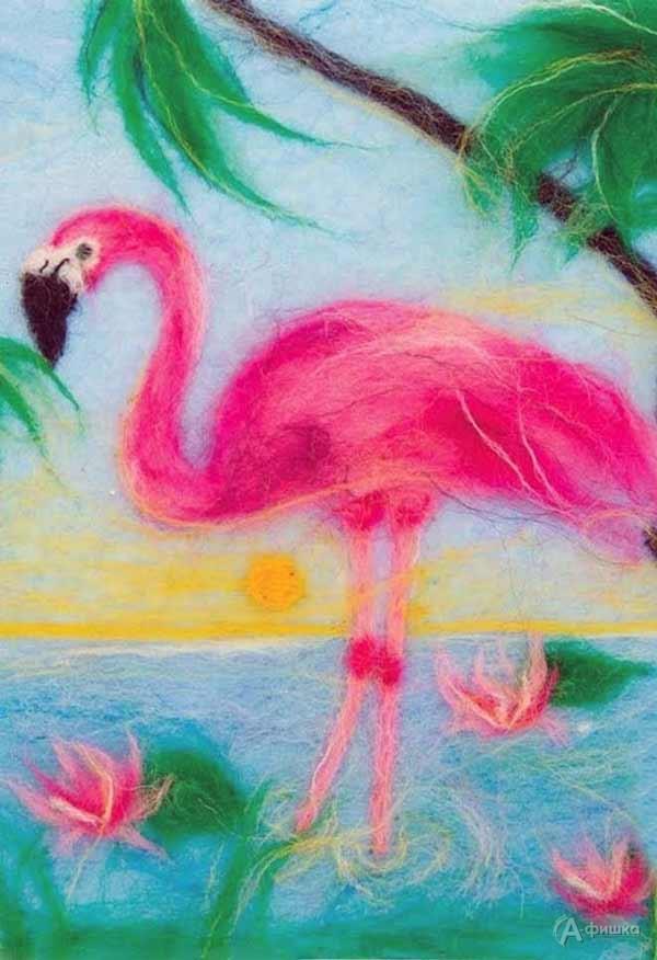 Мастер-класс по живописи шерстью «Розовый фламинго»: Детская афиша Белгорода