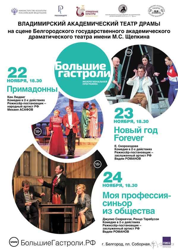Гастроли Владимирского академического театра драмы: Афиша театров в Белгороде