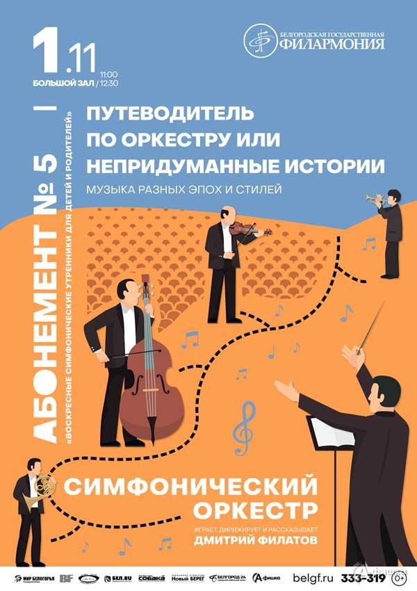 «Путеводитель по оркестру, или Непридуманные истории»: Афиша филармонии в Белгороде