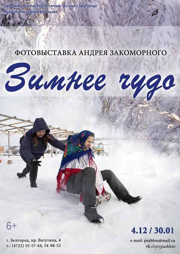 Фотовыставка Андрея Закоморного «Зимнее чудо»: Афиша выставок в Белгороде