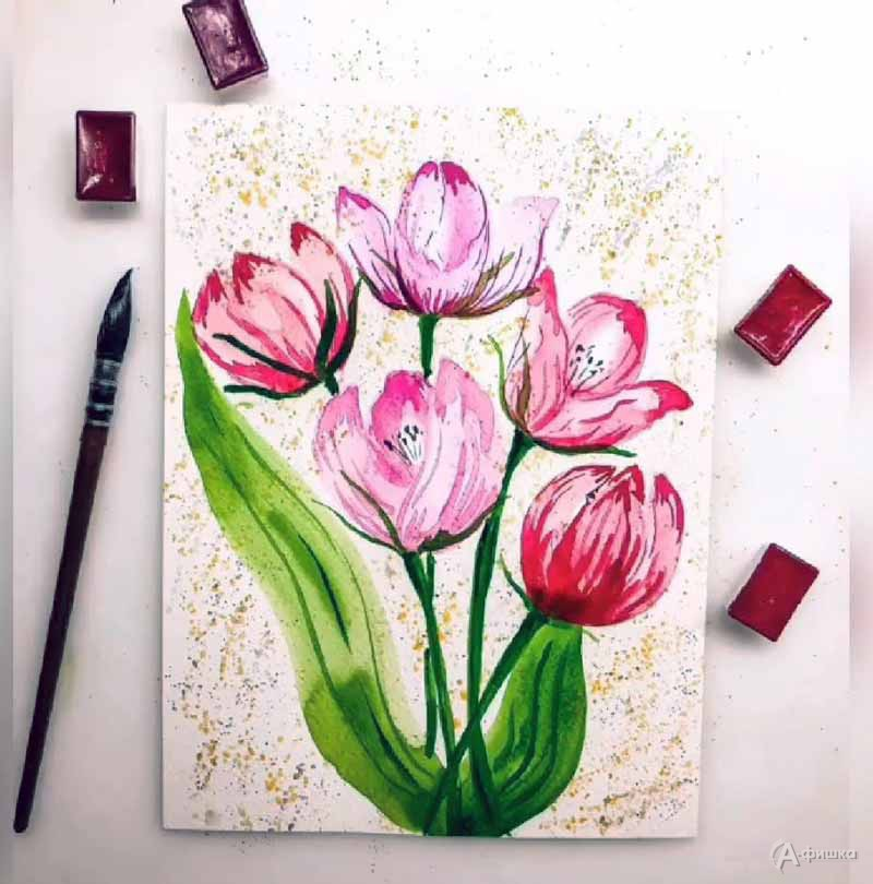 Мастер-класс «Акварельные тюльпаны»: Детская афиша Белгорода